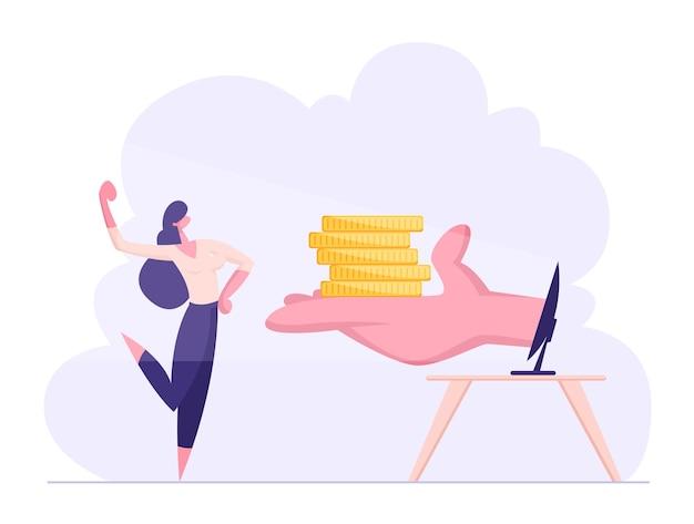 幸せな自信を持ってビジネスウーマンは筋肉がお金を受け取ることを示しています
