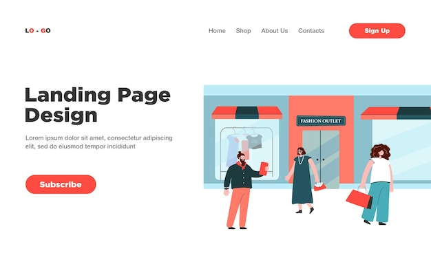 Happy consumers choosing clothes in shop or boutique landing page