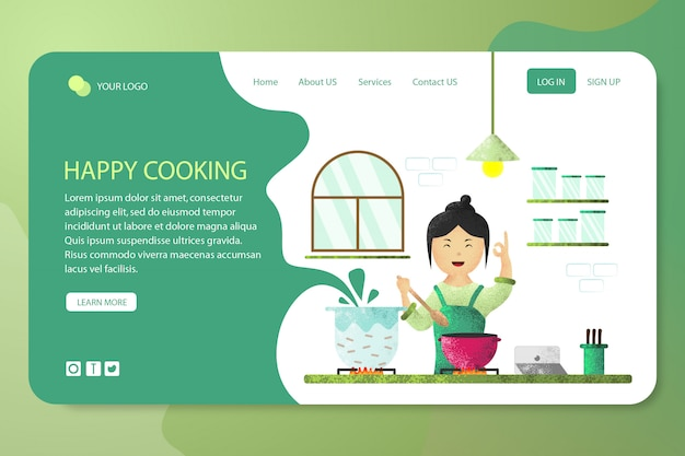 Happy cooking design template landing page