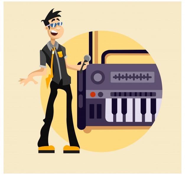 Happy cool gentleman musician vocalist singer cartoon character