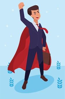 행복 한 기업 남자는 vison 및 사명 및 축하, 리더십 성공 및 경력 진행 개념, 평면 그림으로 그의 일을 수행