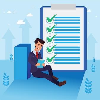 Счастливый корпоративный человек сделал свою работу в качестве визона и миссии и празднования, успеха лидерства и концепции карьерного роста, плоская иллюстрация