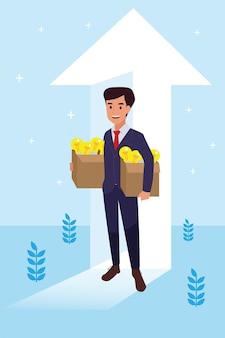 Felice uomo aziendale ha fatto il suo lavoro come visione e missione e celebrando, successo di leadership e concetto di progresso di carriera, illustrazione piatta