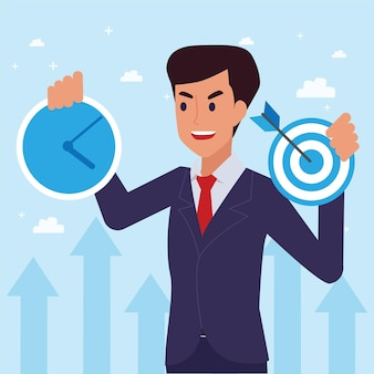 Happy   corporate man done his job as vison & mission and celebrating, leadership success and career progress concept, flat   illustration