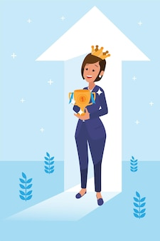 행복한 기업 여성은 vison 및 사명 및 축하, 리더십 성공 및 경력 진행 개념, 평면 그림으로 그녀의 일을 수행