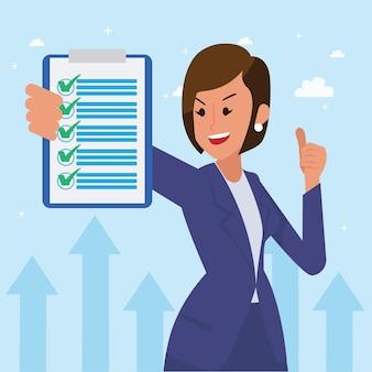 Счастливая корпоративная женщина выполнила свою работу в качестве визона и миссии и празднования, успеха лидерства и концепции карьерного роста, плоская иллюстрация