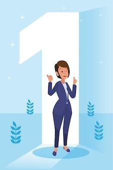 Felice donna aziendale ha fatto il suo lavoro come visione e missione e celebrando, il successo della leadership e il concetto di progresso della carriera, illustrazione piatta