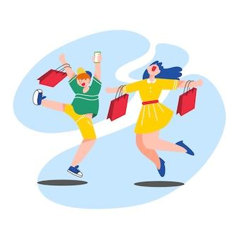 Happy couple on black friday fashion sale character doodle illustration