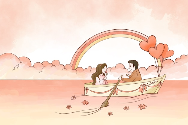 Happy couple on a boat valentine background