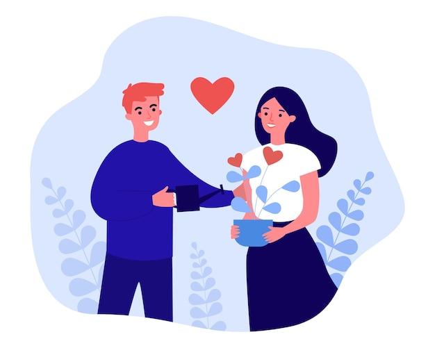 幸せなカップルはロマンチックな関係を構築します。男性キャラクターの水やり、成長するハートの花フラットベクトルイラスト。バナー、ウェブサイトのデザイン、またはランディングウェブページの家族の概念における愛と調和
