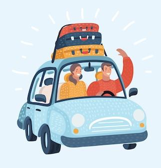 幸せなカップル。車の旅。若い家族の男性の運転。白い背景で隔離