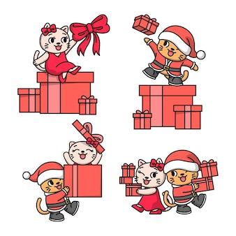 큰 빨간색 선물 상자 그림이있는 크리스마스 의상의 행복한 커플 고양이
