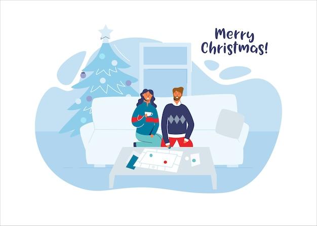 Счастливая пара вместе празднует рождество у себя дома. персонажи на зимних праздниках с елкой.