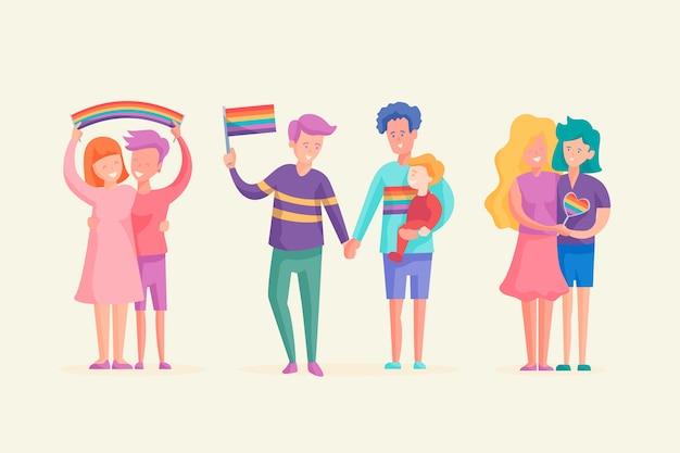 Coppie felici che celebrano il giorno dell'orgoglio