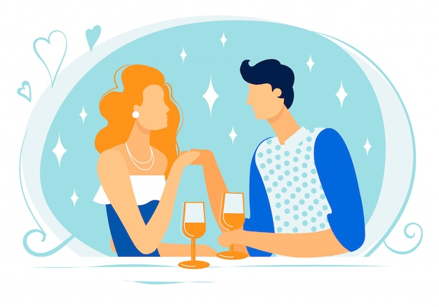 Happy couple characters dating in restaurant drink