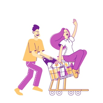 Happy couple characters fool in supermarket riding trolley