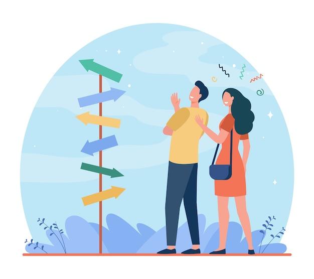 歩く方法を選ぶ幸せなカップル。矢印、配偶者、一緒にフラットベクトルイラスト。方向性と関係
