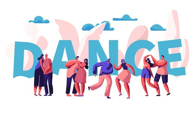幸せなカップルは一緒にダンスタイポグラフィバナー。ロマンチックなダンスの男性と女性のキャラクター。人々浮気抱擁抱きしめるポスターデザイン。ロマンチックな活動フラット漫画ベクトル図