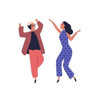 Счастливая пара танцует вместе весело поднимая руки вектор плоской иллюстрации. улыбающийся стильный мужчина и женщина, танцор ликования, имеют положительные эмоции, изолированные на белом. радостные танцоры мультфильмов.