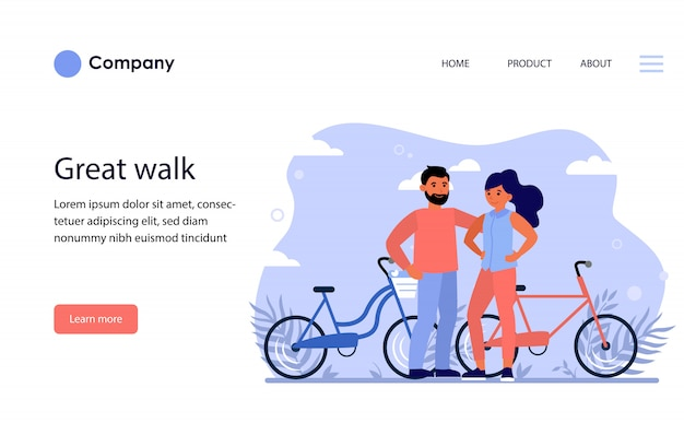 Happy couple dating outdoors. website template or landing page