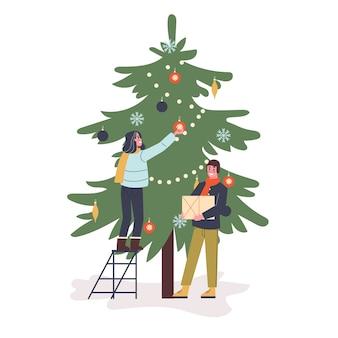 행복 한 커플은 그린 크리스마스 트리를 장식합니다. 새해 파티 준비 중. 가족과 나무 장식. 만화 스타일의 그림