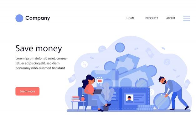 Счастливая пара зарабатывания денег и подсчета бюджета. шаблон веб-сайта или целевая страница