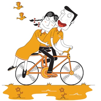 Happy couple enjoy cycling