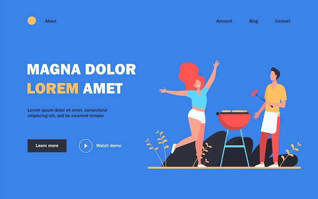 Happy couple enjoying barbecue party. guy cooking grilled meat, girl dancing by him flat  illustration. bbq, picnic, summer concept website design or landing page