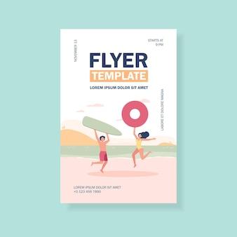 Happy couple enjoying summer beach activities flyer template