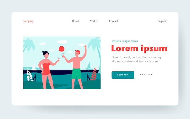 Happy couple enjoying vacation on tropical resort. man and woman, cocktail, beach party. flat vector illustration. holiday, leisure, honeymoon concept for banner, website design or landing web page