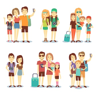 Happy couple, family, people, tourists vector travelling cartoon characters. family holiday journey,