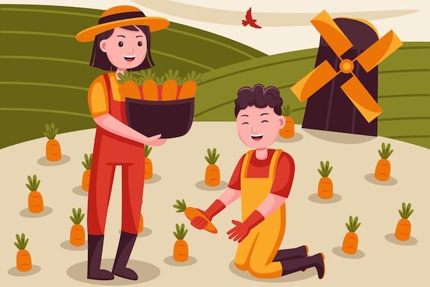 Счастливая пара фермер собирает морковь на маленькой ферме.