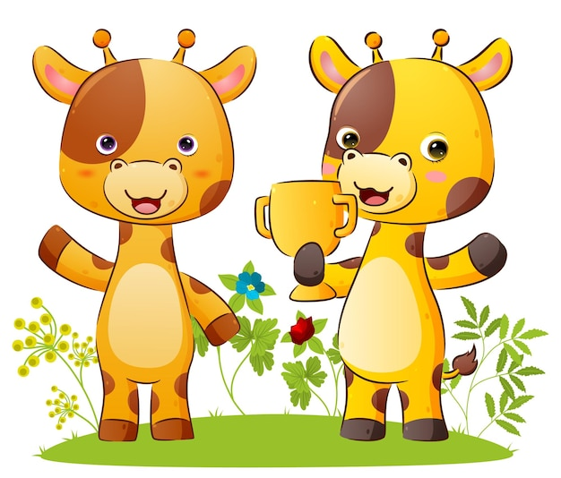 The happy couple of giraffe is holding a golden trophy with the proud expression illustration