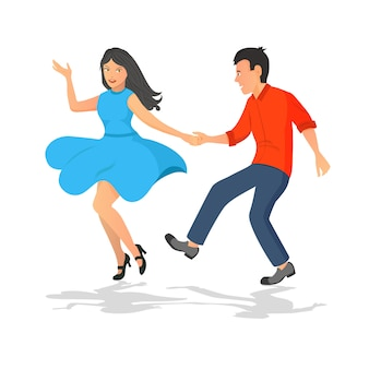 Happy couple of guy and girl dancing. musical active dance.