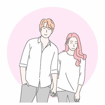 사랑 개념에 손을 잡고 행복 한 커플입니다.