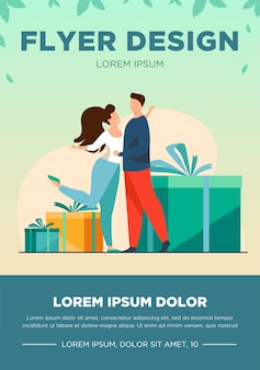 Happy couple hugging and standing near gifts. new year, xmas, event flat vector illustration. celebration and holiday concept for banner, website design or landing web page