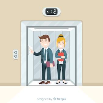Happy couple in elevator
