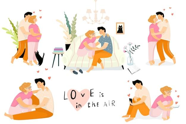 自宅で恋をしている幸せなカップル、リビングルームのソファに座って、愛する妊娠中の妻を抱き締める夫。ホームカップルルーチンイラストデザインコレクション。