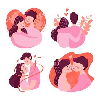 愛セットで幸せなカップル。バレンタインデーの若者。恋人はロマンチックなデートを祝います。関係と愛のアイデア。男と女、キスしています。図