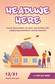 Счастливая пара инвестирует деньги в шаблон флаера недвижимости