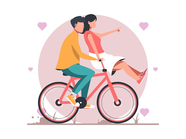 Happy couple is riding a bicycle together