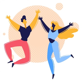 Happy couple jumping illustration
