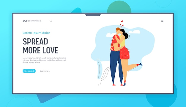Happy couple in love landing page template. man kissing his girlfriend. woman hugs boyfriend.