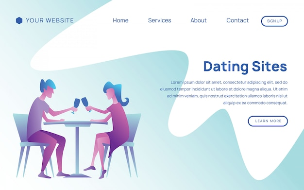 Happy couple in love landing page template