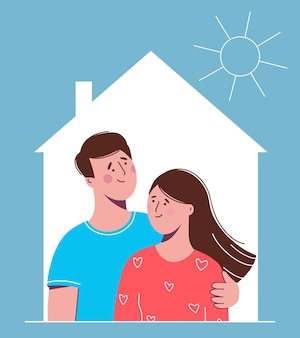Happy couple in love man and woman in the house.  illustration