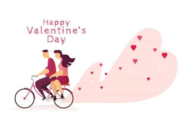 Счастливая пара прекрасная езда на велосипеде в день святого валентина фестиваля.