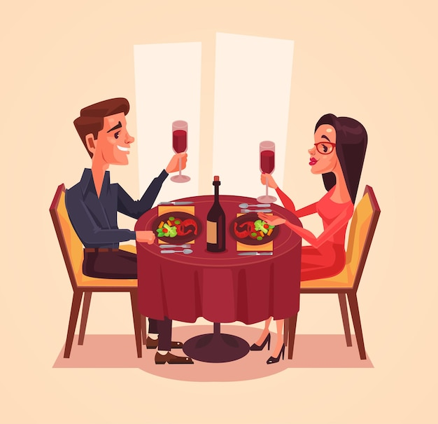 Happy couple lovers man and woman characters having dinner with wine.