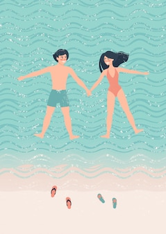 Happy couple man and woman doing the starfish float on the water illustration