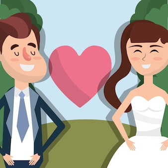 Happy couple married with heart