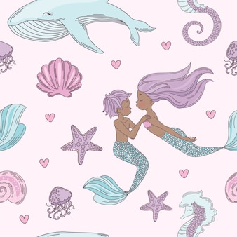 Happy couple mermaid seamless pattern vector illustration